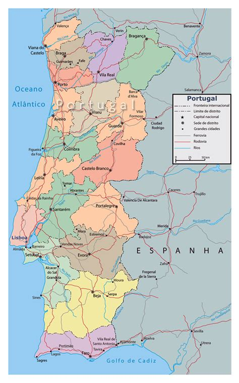 printable road map of portugal detailed political and administrative map of portugal with
