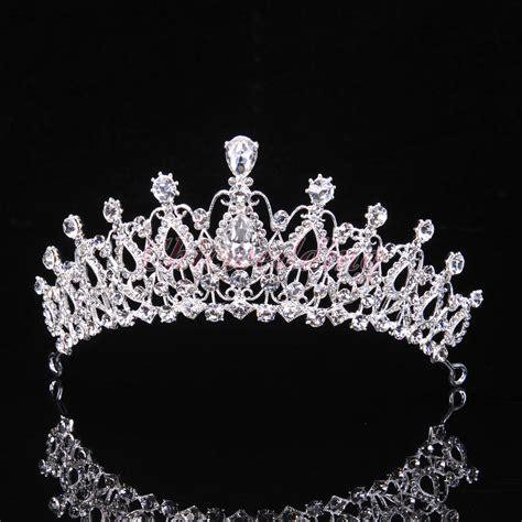 Luxury Sparkling Silver Plated Austrian Princess Tiara luxury tiara crown wedding pageant veil headband