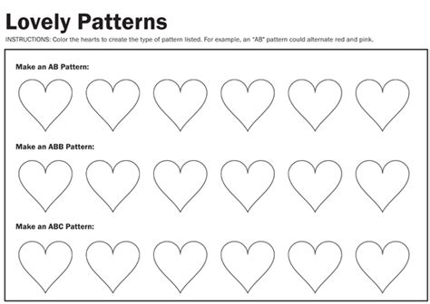 heart pattern for preschool ab pattern worksheets for kindergarten 1000 images about