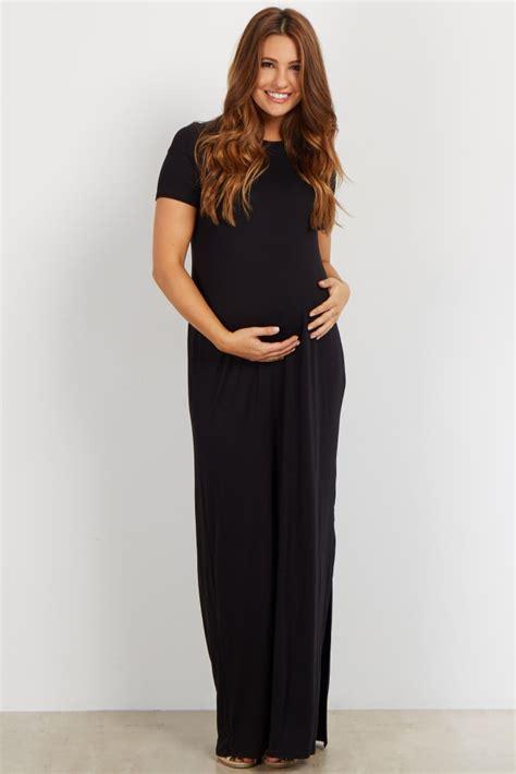 Basic Line Maxi Dress grey basic side slit maternity maxi dress