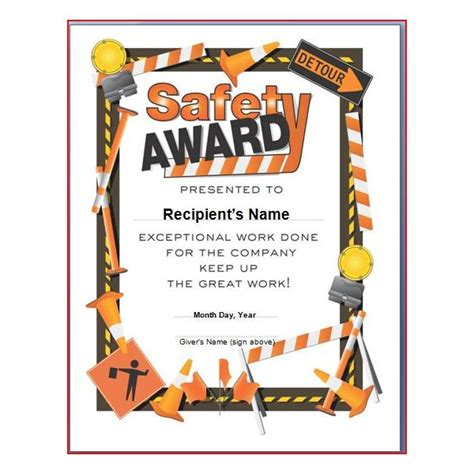 safety recognition certificate template safety award certificates templates free school designs