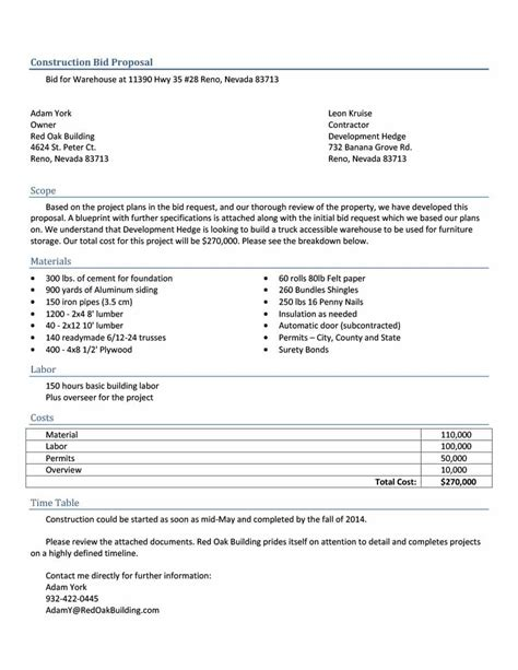 template professional bid proposal template
