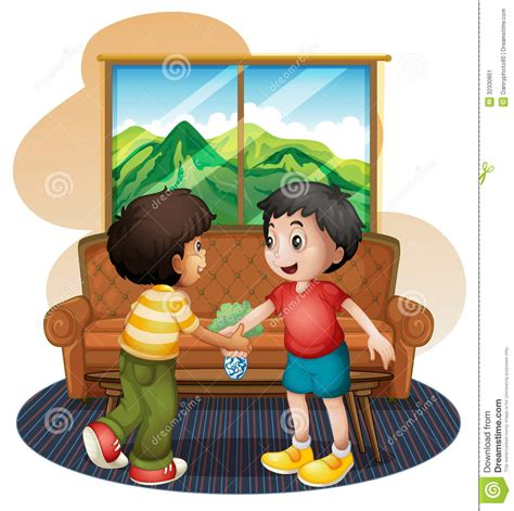 Clear Round Vase Two Boys Shaking Hands Near The Sofa Stock Vector Image