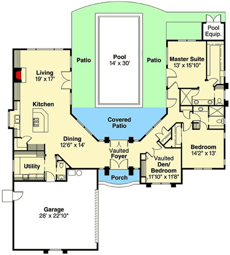 luxury with central courtyard 36186tx floor plan main floor plans with courtyard pool thefloors co