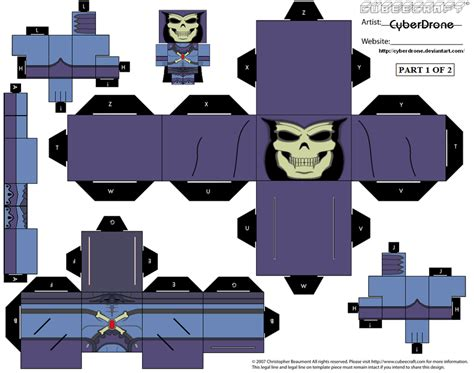 Cubee Papercraft - cubee skeletor 200x ver 1of2 by cyberdrone on deviantart