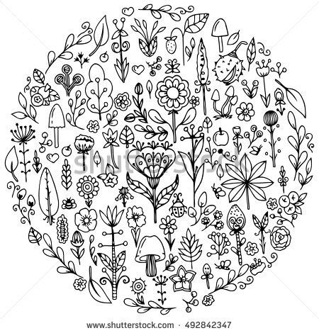 doodle and draw set vector set doodle flowers stock vector 102847001