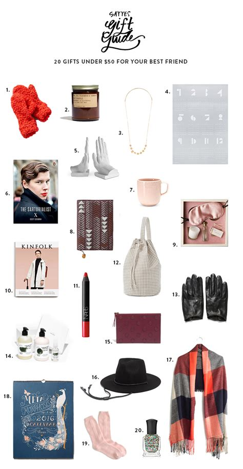 guide to your best 20 gifts 50 for your best friend say yes