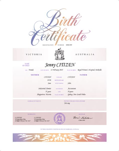certificate template australia commemorative birth certificates births deaths