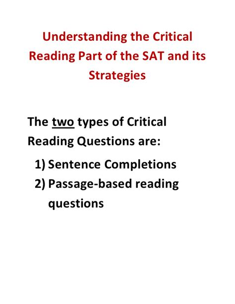tips for the reading section of the act understanding the critical reading part of the sat and its