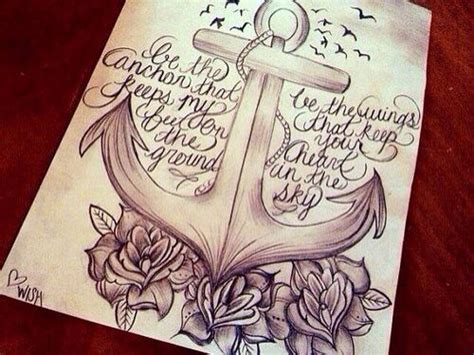 tattoo quotes drawings anchor roses quote drawing anchors symbolize strength