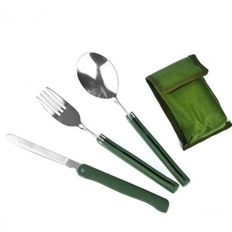Fisher Price Fork And Spoon Travel Set Limited cing steel foldable knife fork spoon outdoor picnic set