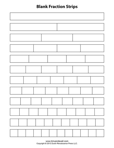 Fraction Strip Templates for Kids   School Math Printables