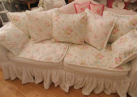cottage sofas and chairs white shabby chic sofa slipcovers with pink floral design