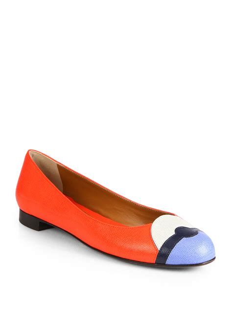 fendi flat shoes lyst fendi leather ballet flats in blue