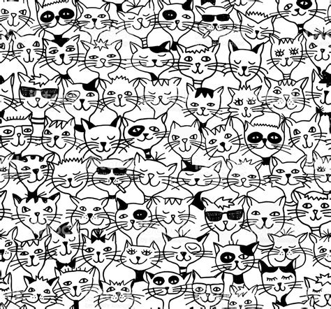seamless pattern cats seamless pattern of cute cats black and white drawing