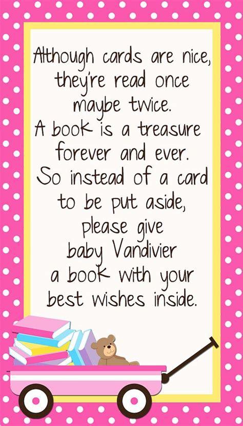 baby shower book poem instead of card custom insert card bring a book instead of a card by