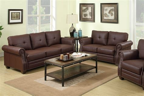 leather sofa and loveseat set poundex baron f7799 brown leather sofa and loveseat set