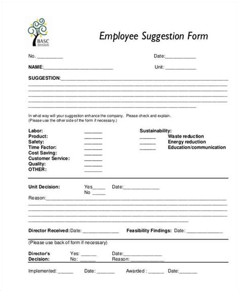 employee suggestion form template free sle employee suggestion forms 7 free documents in