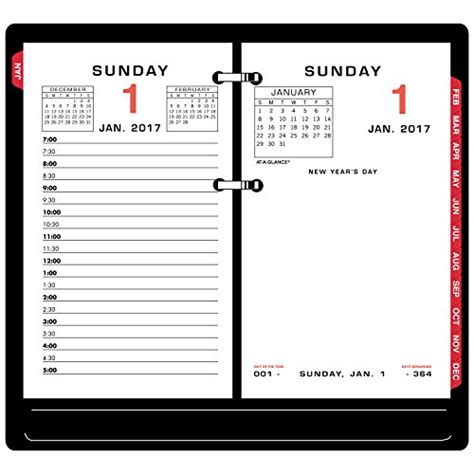 at a glance daily calendar 2017 refill 3 1 2 x 6 quot desk