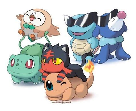 rowlet and bulbasaur, litten and charmander, and squirtle