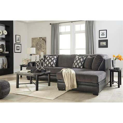poundex 2 pieces faux leather sectional right chaise sofa benchcraft kumasi 2 piece fabric faux leather sectional