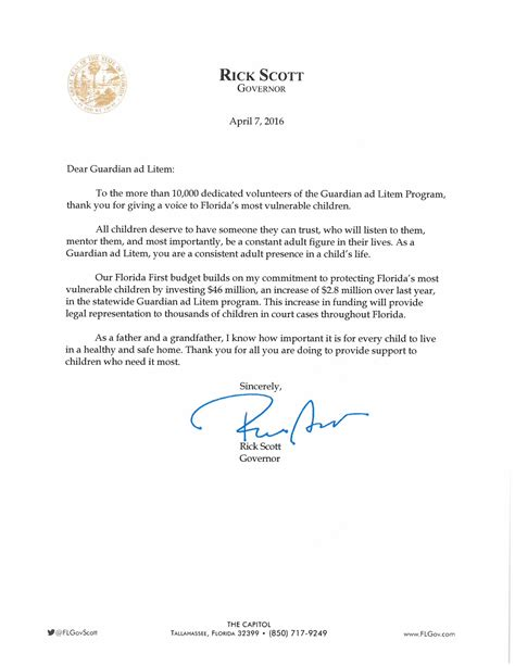 governor rick s personal letter to gal volunteers