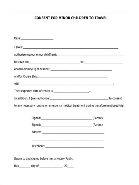 consent form template free 5 child travel consent forms free sle exle