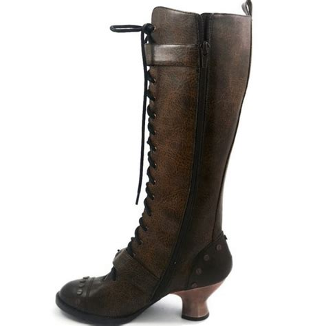 vintage brown boots by hades knee high steunk style