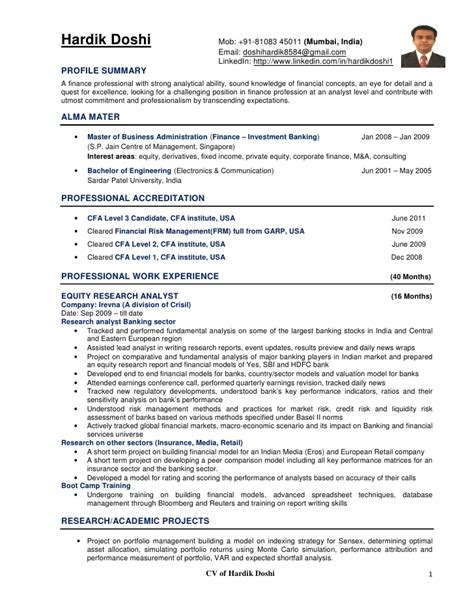 j quinn cfa finance resume sle resume with work