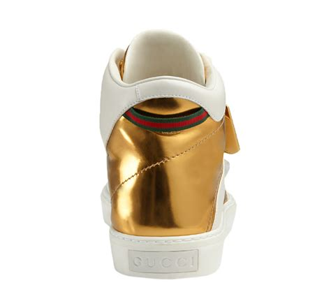 Gucci G063 White List Gold gucci s white leather gold gg high top sneakers shoes