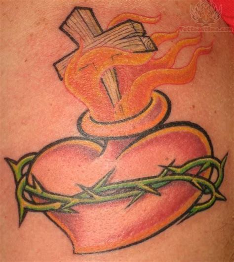 flaming cross tattoo sacred images designs
