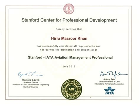 Stanford Mba Certificate Programs by Stanford Iata Avmp Certificate