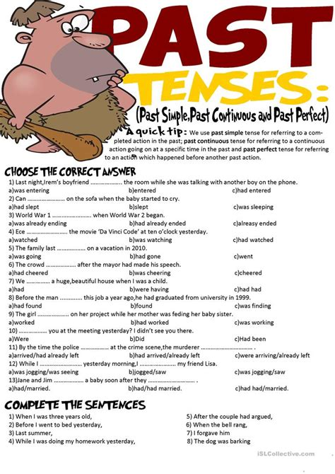 past tense exercises worksheets past tenses exercise past simple past continuous and past