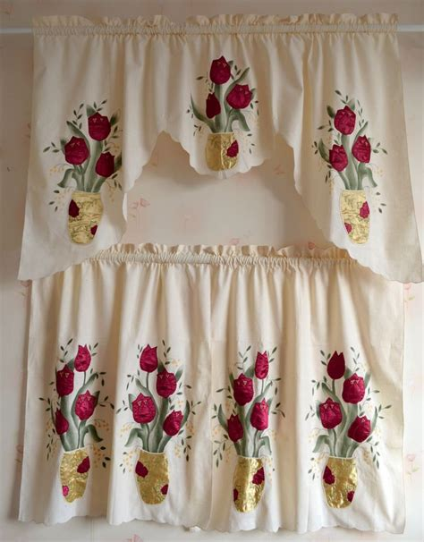 fashion kitchen curtains set fabric embroidered cotton