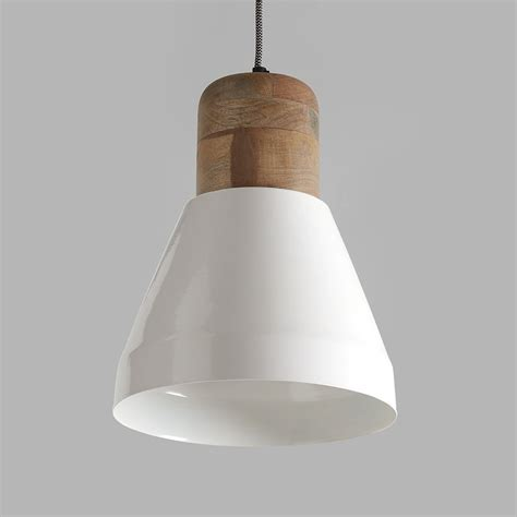 Pendant Light Wood Izzy White And Wood Pendant Light