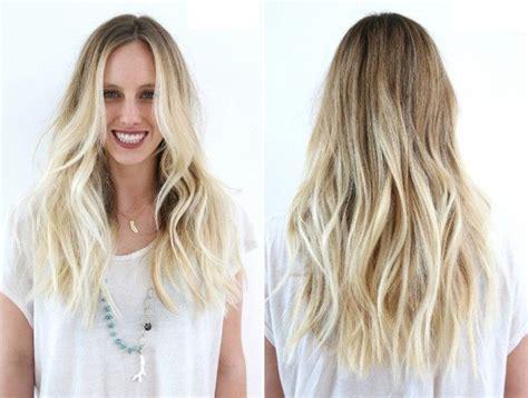 stufen lange blonde haare pony frisur