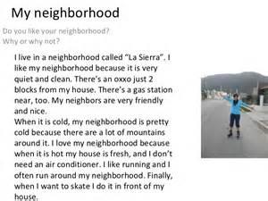 Neighbourhood Essay by Writing 3 My Neighborhood