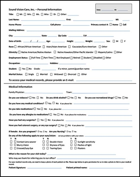 Sound Vision Care Inc Optometry In Riverhead Ny Usa Online Forms Optometry Form Template