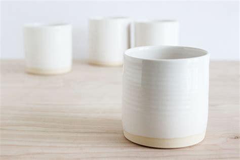 Handmade Mugs white pottery cups handmade minimalist ceramic tumblers set
