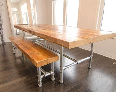 Pipe Dining Table Industry Reclaimed Dining Table And Bench 1 1 4 Quot Galvanized Pipe Frame