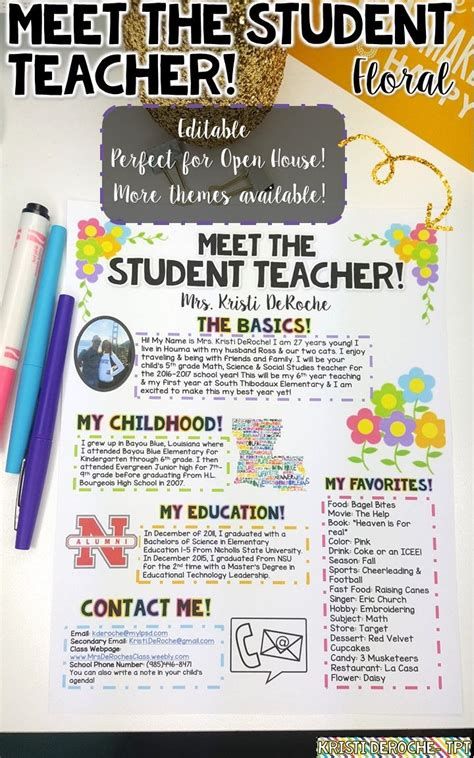 themed events for college students meet the student teacher editable floral design
