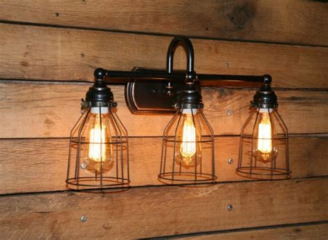 Vanity Lights With Edison Bulbs Vanity Light Wall Sconce 3 Bronze Wire Cage Bathroom
