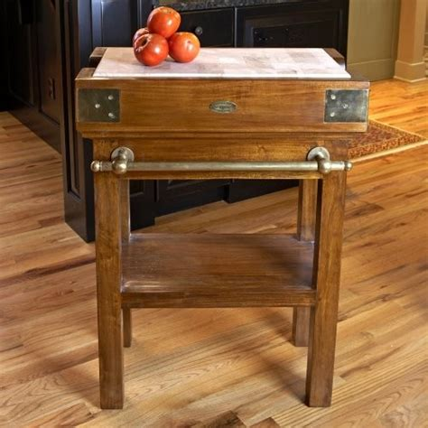 a butcher block table top for a rustic kitchen