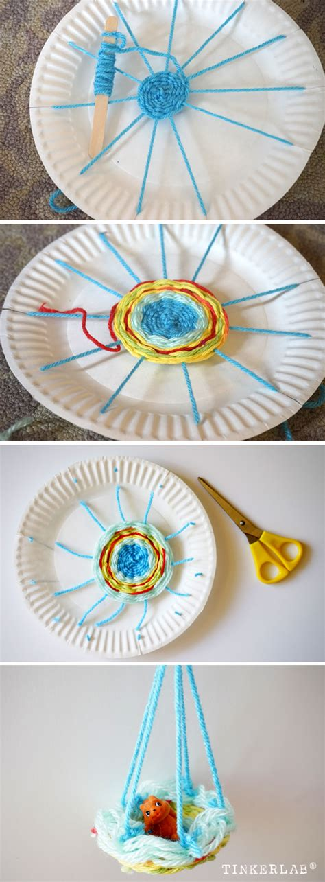 How To Make Paper Plate Doll - paper plate weaving make a doll hammock tinkerlab