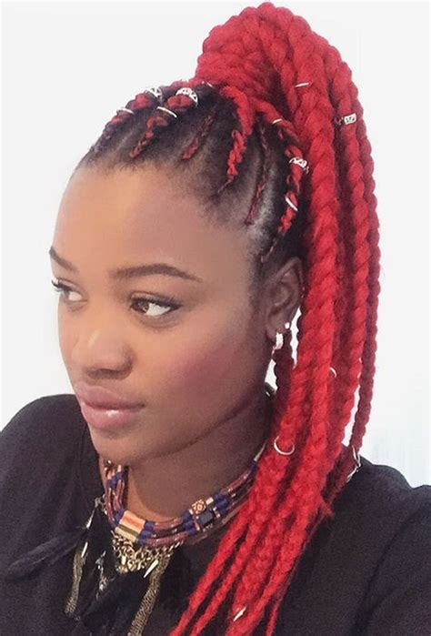 red cornrow braided hair pictures ponytail thick cornrows black hairstle picture