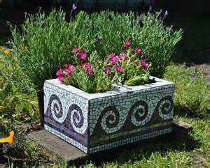 upcycled mosaic cinder block garden planter purple tile and