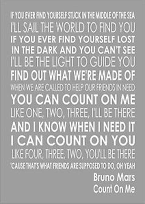 printable lyrics count on me bruno mars bruno mars count on me word typography words song