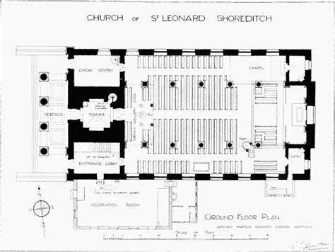 church section names plate 14 church of st leonard shoreditch plans and