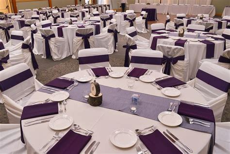 eggplant colored table linens ivory table linen ivory bag style chair covers with