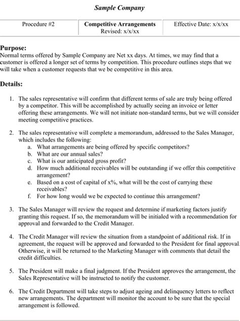 Credit Policy Template credit policy template for free page 5